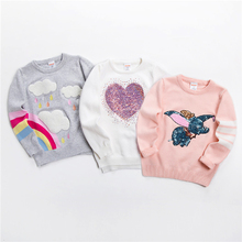 Nowe dzieci sweter miękkie kreskówka sweter sweter dla dziewczynek moda cekiny odzież z dzianiny dla dzieci Baby Boy amp Girl Jumper 3-7 Y tanie tanio spandex COTTON Na co dzień Cartoon REGULAR O-neck Unisex WERZTOUN Pełna Pasuje mniejszy niż zwykle proszę sprawdzić ten sklep jest dobór informacji