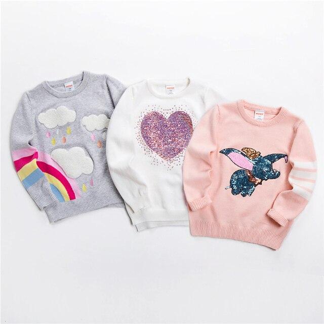 เด็กใหม่เสื้อกันหนาวนุ่มการ์ตูนเสื้อกันหนาวสำหรับสาวแฟชั่นSequinsเด็กถักเสื้อผ้าเด็กBoy & Girlจัมเปอร์3 7 Y