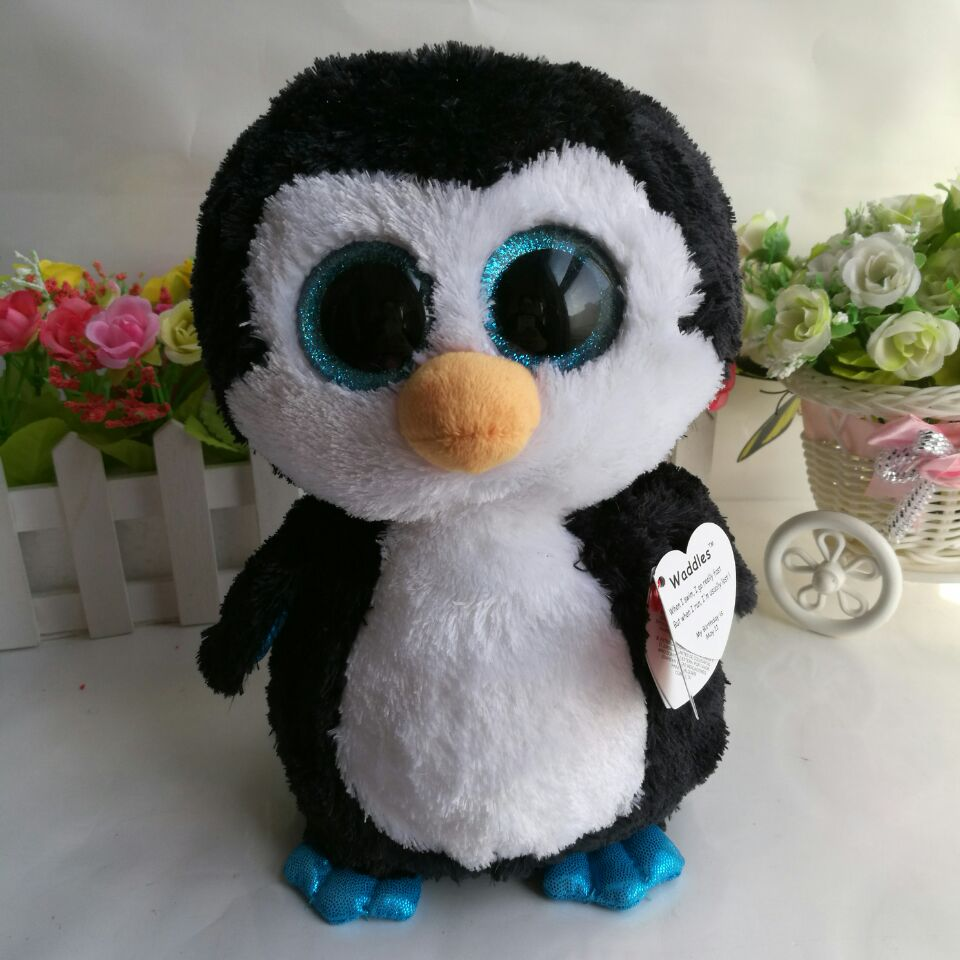 Waddles Penguin Ty Beanie Boos 10 25Cm Big Eye Plush Toys -7508