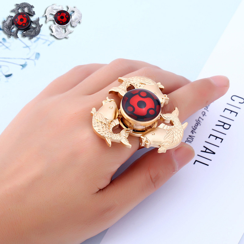 Cool Metal Fidget Tri-Spinner Fish Hand Spinner Ring EDC Relieve Anxiety Ring Jewelry Gift For Women Men CX17