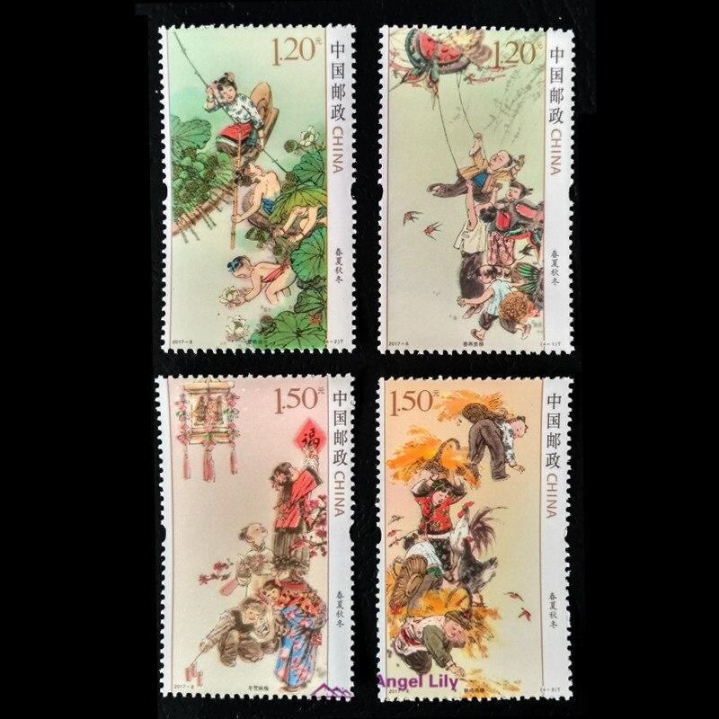 Китайские весенние, летние, Осенние, зимние китайские почтовые марки, 4 шт./компл., все новые для коллекции 2017-6