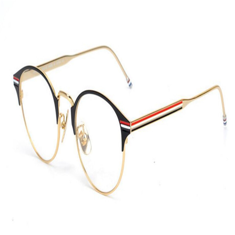 Men's Glasses Round Frame Unisex Fashion Full Rim Alloy Brand Design Gold Silver Optical Eyeglasses Clear Lens Spectacle Eyewear Eyeglasses