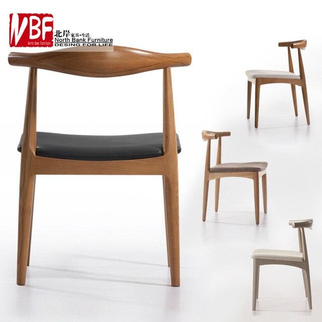 North Shore Chinese Furniture Modern Wood Chair Leather Chair Cushion IKEA  Chair Horn Chair Negotiate W005