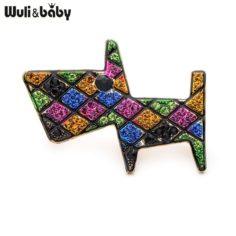 Wuli&Baby Colorful Rhinestone Dog Brooches For Women And Men Alloy Beautiful Trendy Animal Party Weddings Banquet Brooch Gifts