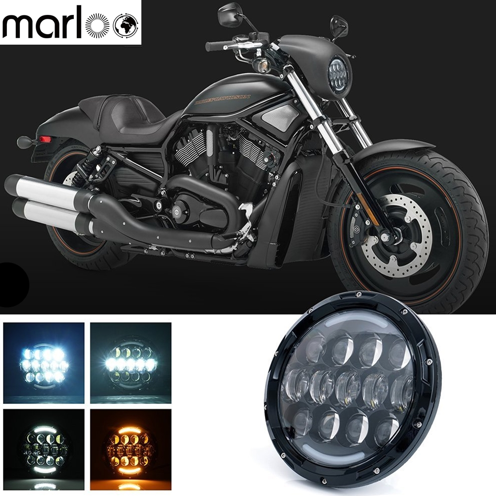 Marloo 105W 7 Inch Round Hi/Lo Motorcycle LED Headlights DRL White Amber Light For Harley Davidson, Touring, Road King Headlamp