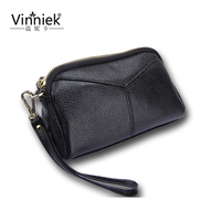 Silver Genuine Leather Wallet Women Luxury Brand Zipper Clutch Bag Credit Card Holder Fashion Ladies Coin