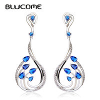 Micro Pave Zircon Dangle Earrings Sapphire Rhodium Plated Water Drop Long Earrings For Women Boucle D