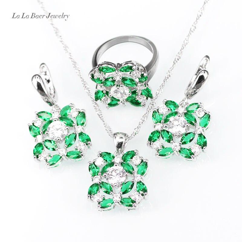 L & B moda partido 3 unids joyería Sets plata color ZIRCON collar ...