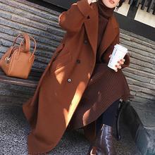 2018 Autumn Winter New DOUBLE BREASTED Women Cashmere Coat Fashion TURN DOWN Collar Long slim Woolen Coat