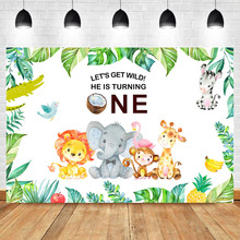 Wild One Backdrop Jungle Safari Animals Birthday Photography Background Vinyl Kids First Party Backdrops