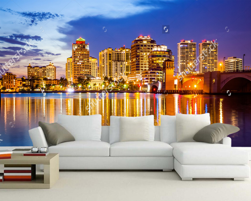 Kundenspezifische Moderne Tapete Florida Skyline Und City Night 3d Wandbild Für Wohnzimmer Schlafzimmer Sofa Hintergrund Home Dekoration Modern Wallpaper Photo Murals3d Photo Aliexpress