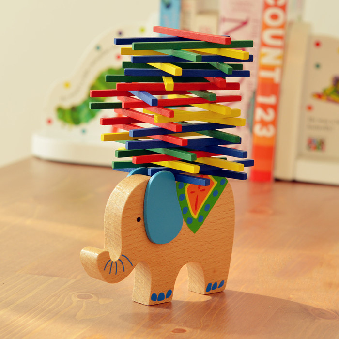 Cartoon Baby Educational Toys Elephant/Camel Balancing Blocks Wooden Toys Colorful Wood Balance Beam Game Gift For Children ...