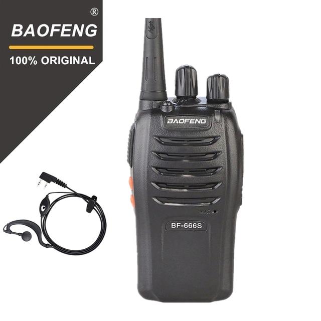 100% Baofeng BF 666s Walkie Talkie 16CH pratik iki yönlü radyo UHF 400 470MHZ taşınabilir jambon radyo 5W el feneri programlanabilir