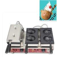 110 V 220 V коммерческий Медведь Форма вафельница машина открытый глубокий рот мороженое вафельная машина для выпечки антипригарный медведь Ма