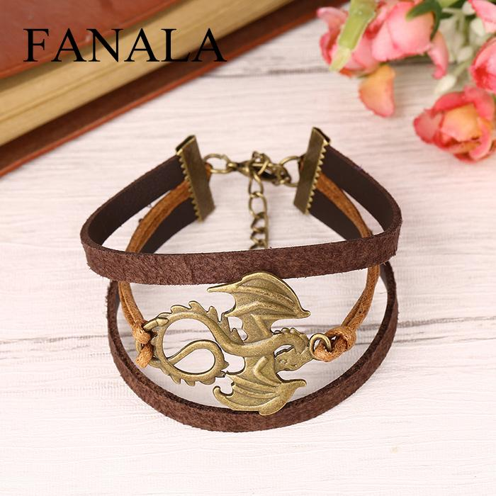 Style Vintage Unisex Animal Pattern Pendant Braided Cuff Bracelet Jewelry