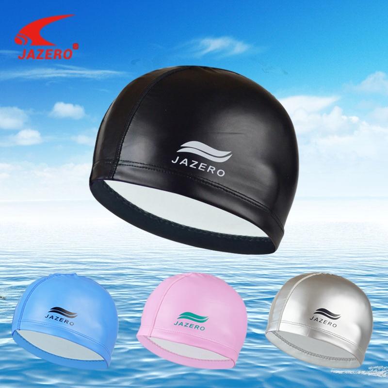 JAZERO Elastic Waterproof PU Fabric Swimming Cap For Women Men Nylon Long Hair Water Sports Hat Swimming Pool Protect Ears