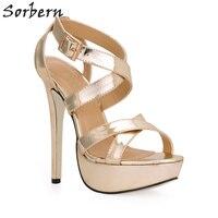 Sorbern золото дамские сандалии обувь на платформе 14 см Высокие каблуки Крест Бретели для нижнего белья Летняя стильная обувь для Для женщин 2018...