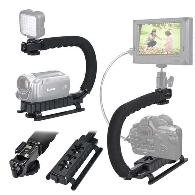 Black C / U Shape Bracket Holder Stabilizer Video Handheld Grip For DSLR Camera