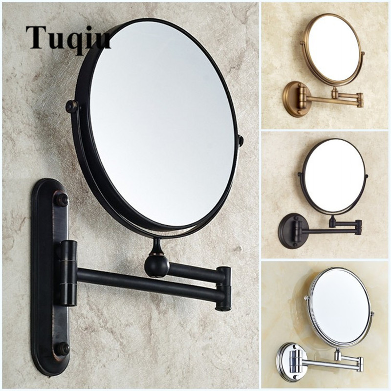 Bathroom Mirror Wall Mounted 8 inch Brass 3X 1X Magnifying Mirror Folding Black Oil Gold Makeup