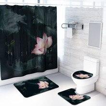 4 шт. Нескользящие Туалет полиэстер крышка коврик набор Ванная комната Душ шторы может#24