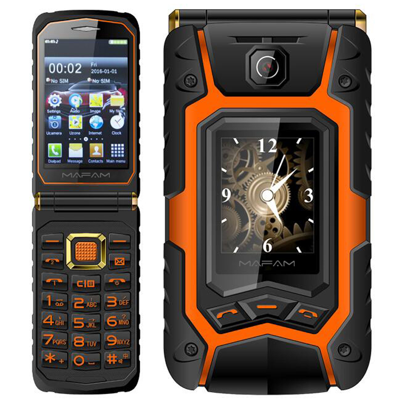 MAFAM X9 Rugged Flip phone Double dual Screen Dual speaker Dual SIM Card one-key dial long standby 2500mAh FM mobile phone