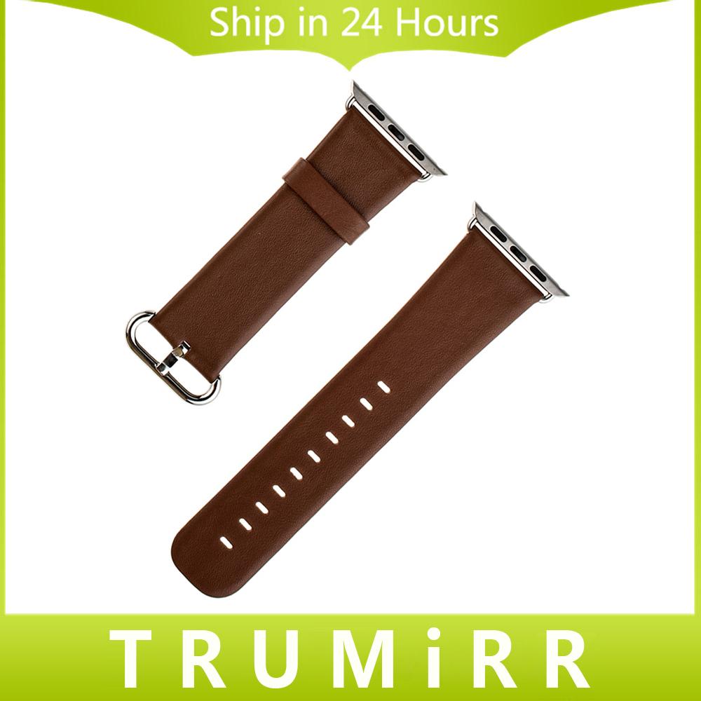 Prix pour 22mm 24mm Véritable Bracelet En Cuir pour iWatch Apple Watch 38mm 42mm Remplacement De Courroie De Bande Bracelet avec Adaptateur Noir brun