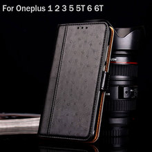 Case for oneplus 2 3 5 6 5t 6t coque Luxury Ostrich Leather Stand hit color Flip cover for Oneplus 3 5 6 5t 6t case phone funda