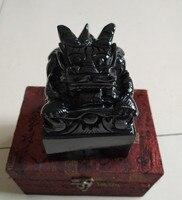 2 кг Hitian Jade черный синий нефрит и чернила Jade Seal 9*9 императорская Голова Дракона Jade Seal