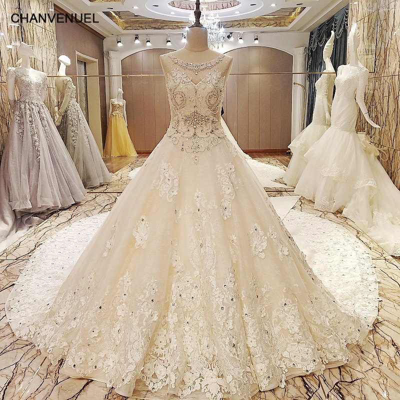 Ls86984 luxury wedding dresses beaded crystals ball gown for Aliexpress robes de mariage