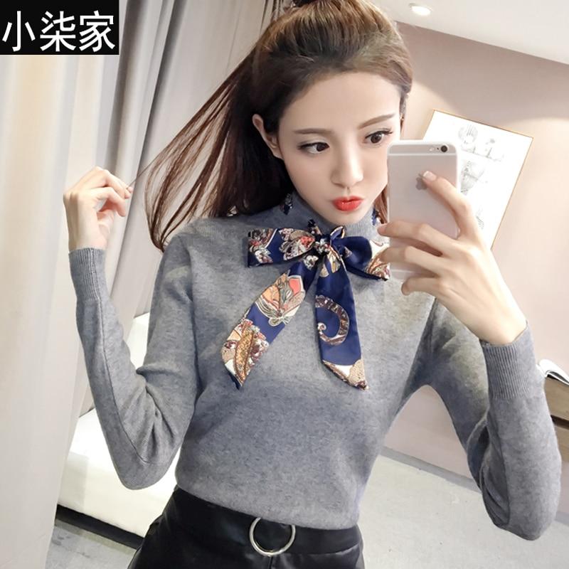 Femenino de corea pajarita largo suéter manga medio alto ronda camisa de cuello