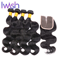 Iwish Brazilian Virgin Hair Bundle Deals With Closure Brazilian Body Wave With Closure 4 Bundles Human Hair With Lace Closure