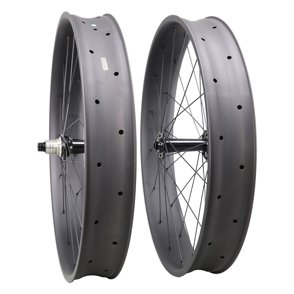 ICANBIKES hot sale carbon fat bike wheels 26er Clincher Carbon Wheelset 90mm Tubeless 32/32H suit 170/197/190mm rear axle