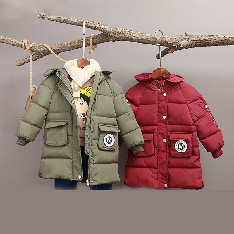 Winter Boy Girl Long Coat Kids Down Jacket Clothes Girl Boy Outerwear Children Clothing Winter Coat Casual Infantil Fashion цена