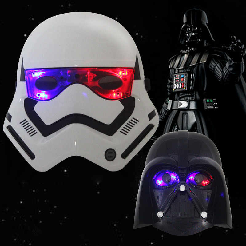 PV Star Wars Darth Vader Natal Hitam Masker Halloween Masker LED Light Helm Empire Clone Tentara Putih Topeng Bercahaya