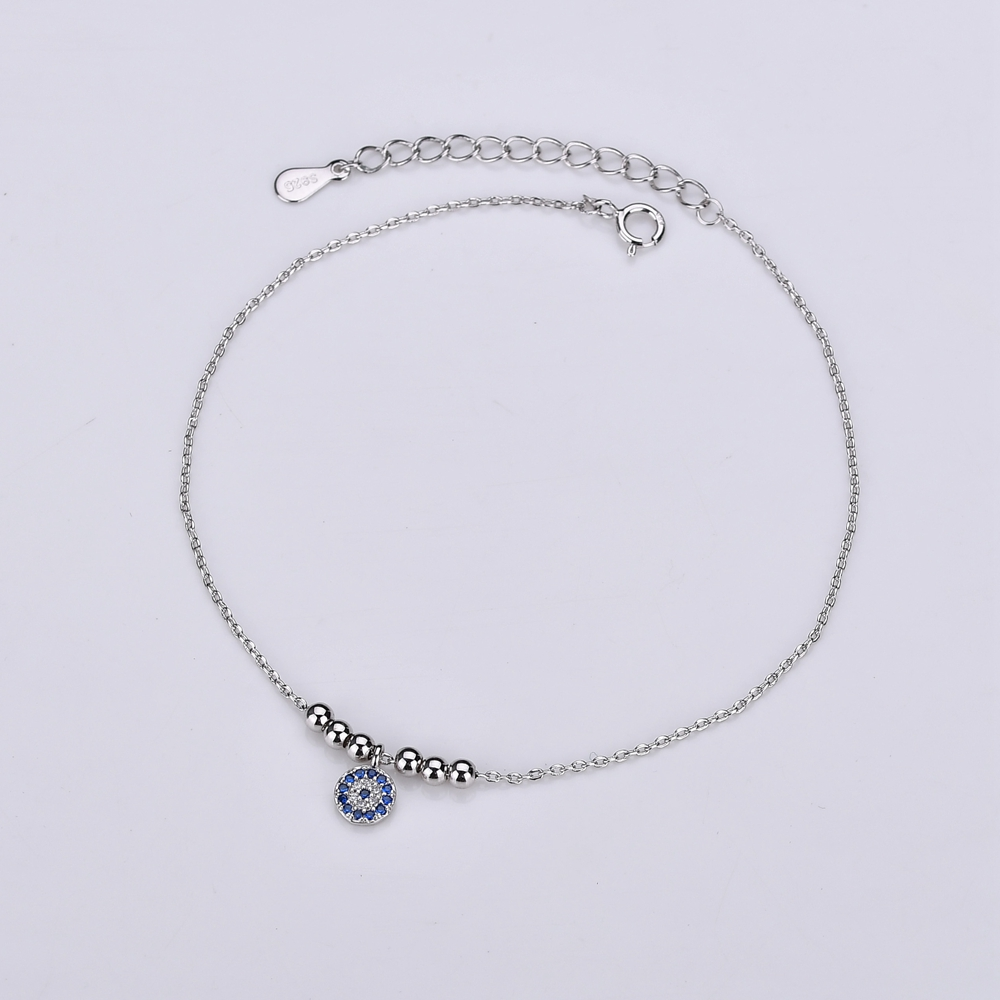 AAA Blue&White Cubic Zircon Evil Eye Anklets For Women 100% 925 Sterling Silver Link Chain Ball Charm Ankle Bracelet Jewellery