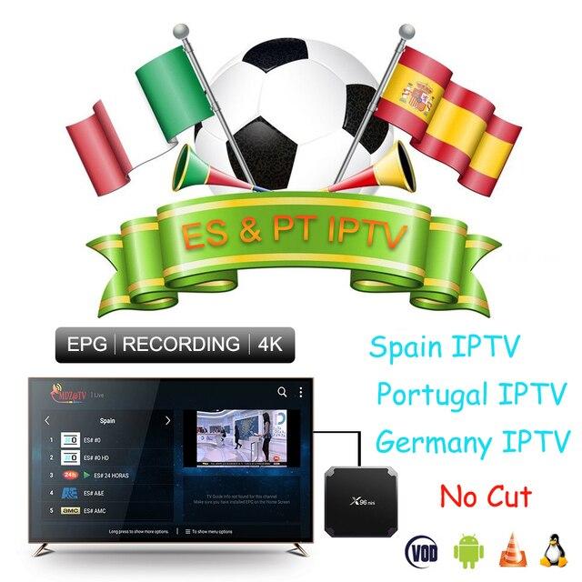 Mejor estable Iptv España Portugal completa HD Iptv suscripción m3u para Android TV Box X96 Mini Smart TV Enigma2 VOD incluyen