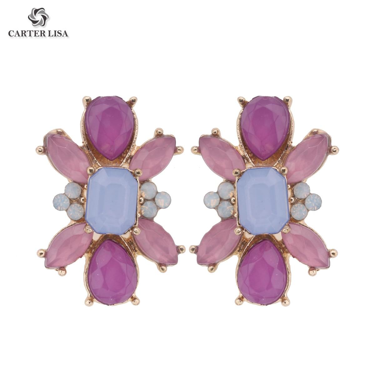 CARTER LISA Vintage Crystal Flower Stud Earrings Handmade Inspired Earing For Women Oorknopjes Kolczyki Wkrety