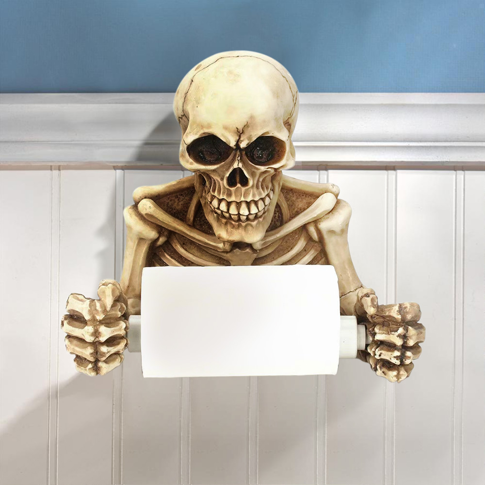 Spooky Grinning Skull Medieval Toilet Paper Holder Resin Gothic Skeleton Figurine Statue Home Scary Halloween Decor Sculptures
