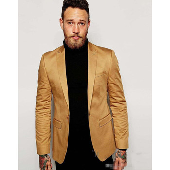 Gold Blazer Slim Fit Tuxedo Suits For Groom Groomsmen Peaked Lapel Wedding Suits Custom Made Prom Mens Suit  (Jacket+Pants) M347