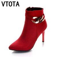 VTOTA Women Ankle Boots 2017 Sexy Autumn Winter Boots New High Heels Shoes Woman Botas Women