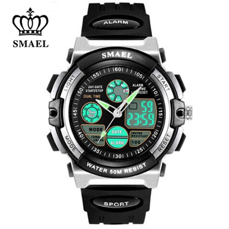 SMAEL Children Watches 50M Waterproor Resistant Chronograph Auto Date Children s Watches Dual Display Fashion Digital