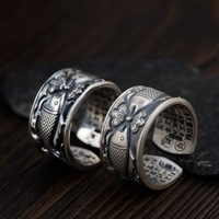 Thai silver wholesale fine silver S990 ring archaize process couples Heart sutra openings there every year