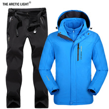 THE ARCTIC LIGHT Winter Men Outdoor Ski Jacket Suits Hiking Camping Sports Fleece Windbreaker Thermal Pants Man Sets