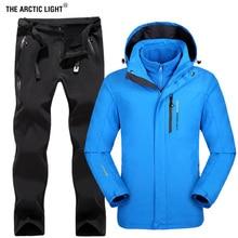 THE ARCTIC LIGHT Winter Men Outdoor Ski Jacket Suits Hiking Camping Sports Fleece Windbreaker Thermal Fleece Pants Man Sets the arctic light outdoor camping