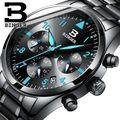 Suíça de Relógios de Alta Qualidade Moda Casual Pulseira de Couro Auto Data Homens Relógio de Luxo Da Marca Japão Movimento de Quartzo relógio de Pulso