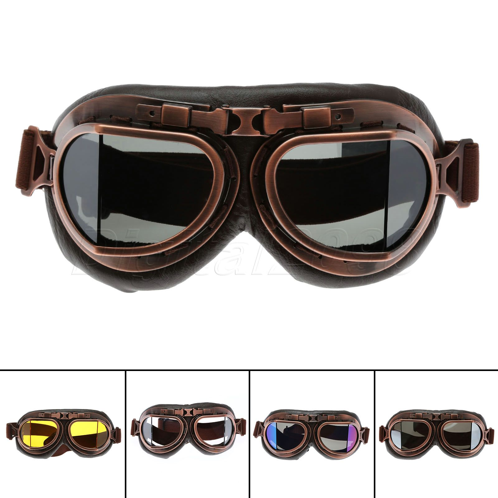 Yetaha WWII RAF Vintage Motorcycle Goggles Harley Motocross Aviator Pilot Cruiser Glasses ATV Dirt Bike Motor Helmet 5 Colors