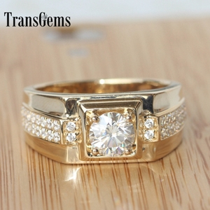 Image 4 - Transgems Brilliance Genuine 14k 585 Yellow Gold 1 Carat ct F Color Engagement Wedding Ring For Man Ring Men Engagement Ring