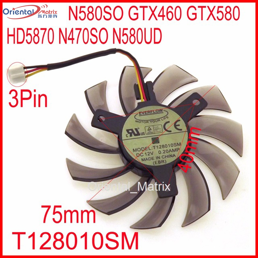 Free Shipping T128010SM 12V 0.20A 3Pin For Gigabyte N580SO GTX460 GTX580 HD5870 N470SO N580UD Graphics Card Cooling Fan everflow t128010sm 75mm dc 12v 3pin 0 20a for gigabyte hd 6870 gtx470 gtx480 gtx570 gtx580 hd6970 graphics video card cooler fan