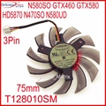 Free Shipping T128010SM 12V 0.20A 3Pin For Gigabyte N580SO GTX460 GTX580 HD5870 N470SO N580UD Graphics Card Cooling Fan