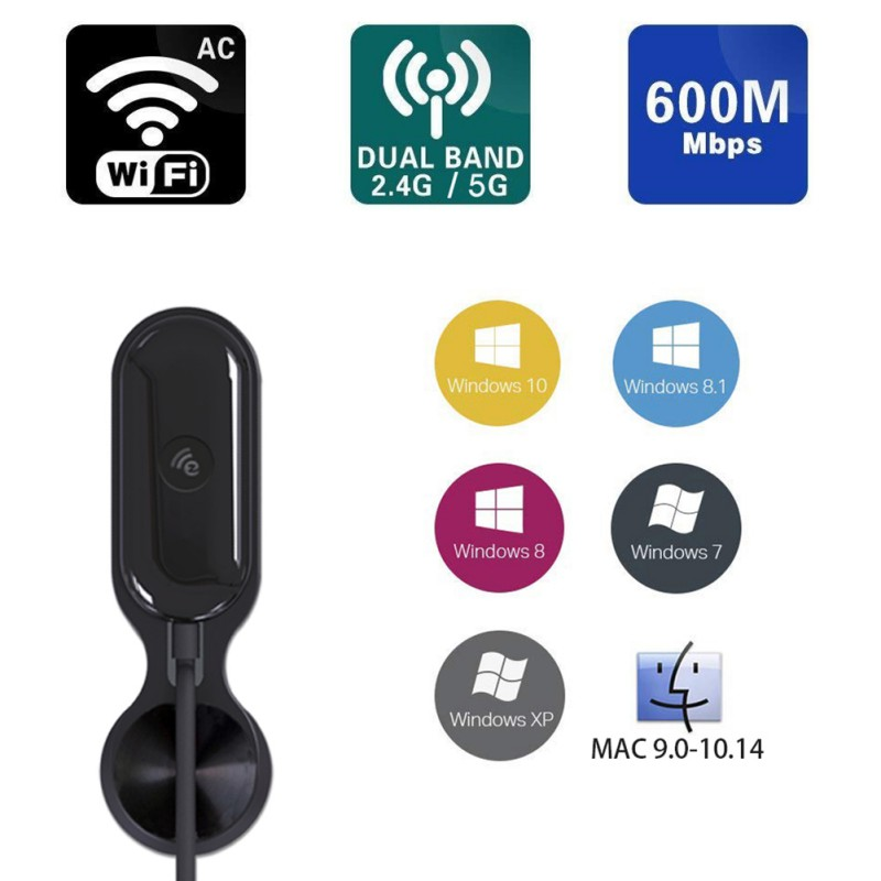 Network Cards USB Dual-band Wireless WiFi Network Card Dongle 2.4G+5G Dual Frequency Output Up to 600Mbps